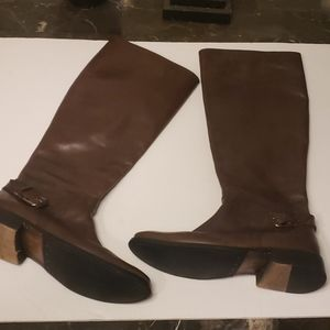 Frye Shirley Knee High Leather Brown Boots Size 7